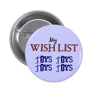 La lista de objetivos del navidad juega el botón a pins
