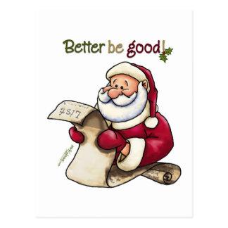La lista de Papá Noel - mejore sea bueno Tarjeta Postal