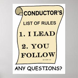 La lista del conductor de reglas posters