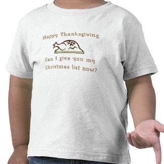 La lista del navidad de la acción de gracias camiseta