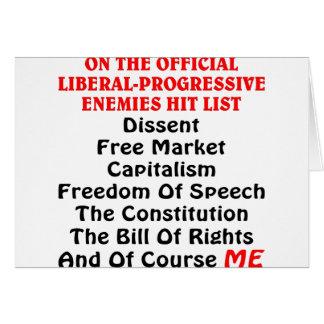 La lista Liberal-Progresiva oficial del golpe de l Tarjeta De Felicitación