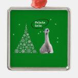 La llama blanca canta el villancico del navidad: adorno navideño cuadrado de metal