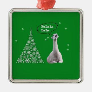 La llama blanca canta el villancico del navidad: ornamento para arbol de navidad