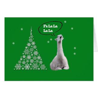 La llama blanca canta el villancico del navidad: tarjeta pequeña