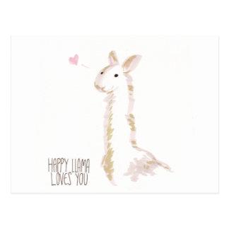 La llama feliz le ama tarjeta postal