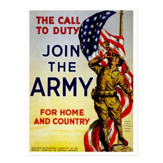La llamada al ~ del deber se une a al ejército tarjeta postal