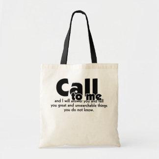 La llamada mí y a mí contestará a 33:3 del you_Jer Bolsa Tela Barata