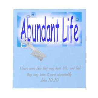 La llave a la vida abundante v2 (Juan 10: 10) Blocs De Papel