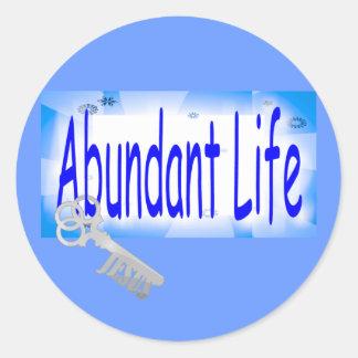 La llave a la vida abundante v2 (Juan 10: 10) Pegatina Redonda