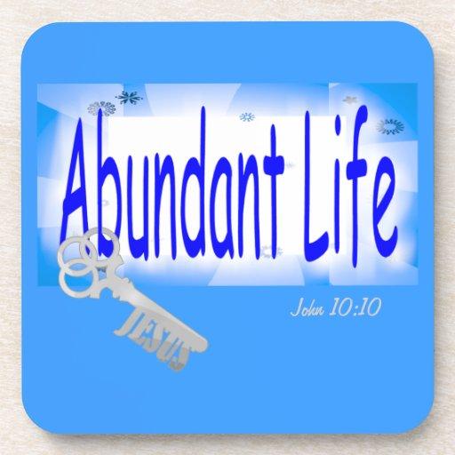 La llave a la vida abundante v2 (Juan 10: 10) Posavasos