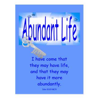 La llave a la vida abundante v2 (Juan 10: 10) Postal