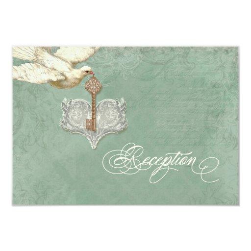 """La llave a mi corazón, tarjeta de la recepción del invitación 3.5"""" x 5"""""""
