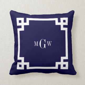 La llave griega blanca #2 de los azules marinos almohadas