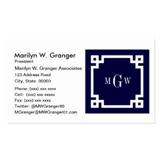 La llave griega blanca #2 de los azules marinos plantillas de tarjeta de negocio