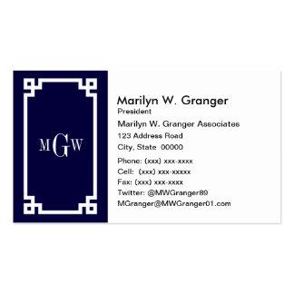 La llave griega blanca #2 de los azules marinos plantilla de tarjeta de negocio