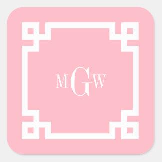 La llave griega blanca rosada #2 enmarcó el pegatina cuadrada