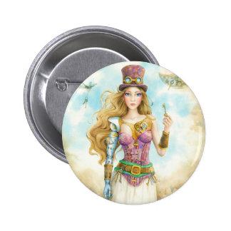"""""""La llave"""", muchacha de Steampunk Pin Redondo 5 Cm"""