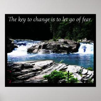 La llave para cambiar la foto de la naturaleza del póster