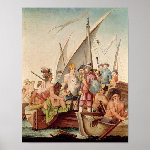 La llegada de Hernando Cortes en México Impresiones
