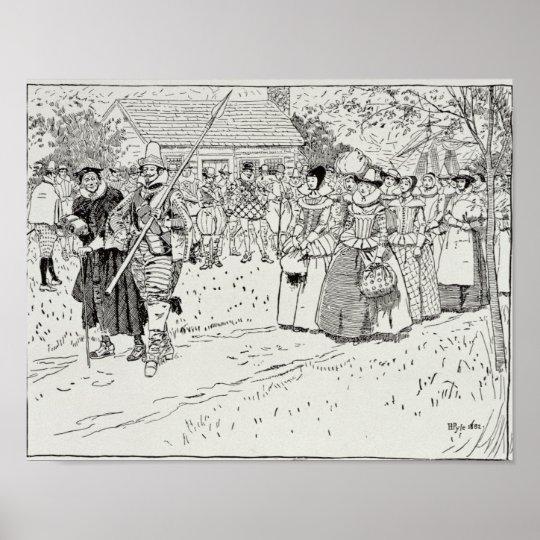 La llegada de las mujeres jovenes en Jamestown Póster