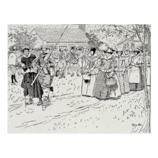 La llegada de las mujeres jovenes en Jamestown Tarjetas Postales