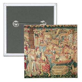 La llegada de Vasco da Gama en Calcutta Pin Cuadrado