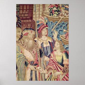 La llegada de Vasco da Gama en Calicut Póster