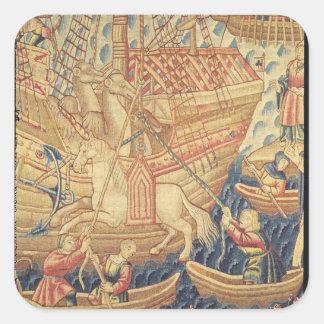 La llegada de Vasco de Gama en Calicut Pegatina Cuadrada