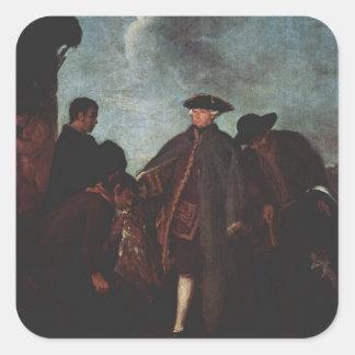 La llegada del noble de Pietro Longhi Pegatinas Cuadradases