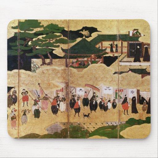 La llegada del portugués en Japón 3 Alfombrillas De Ratón