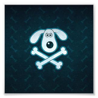 La lluvia azul del dibujo animado del perro impresion fotografica