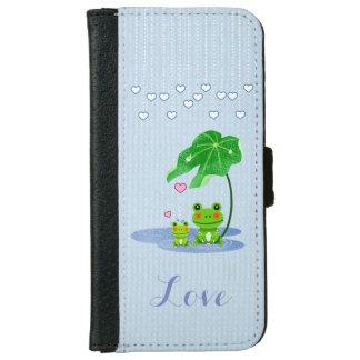 La lluvia linda de los corazones del amor cae a la funda cartera para iPhone 6