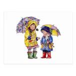 La lluvia, lluvia sale…. tarjeta postal