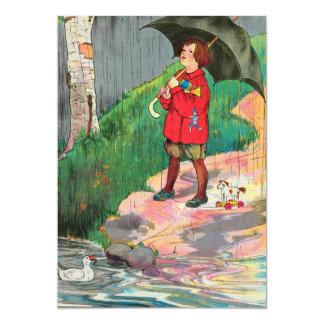 """La lluvia, lluvia, sale, viene otra vez otro día invitación 5"""" x 7"""""""