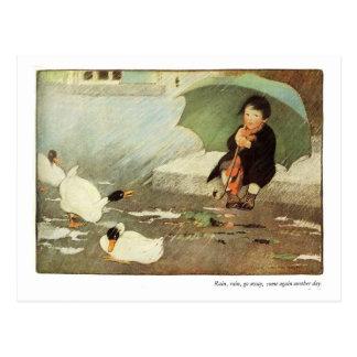 La lluvia, lluvia va poesía infantil ausente - postal