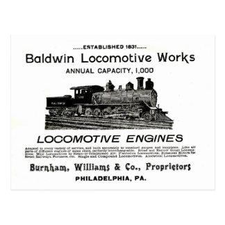 La locomotora de Baldwin funciona 1895 Postal