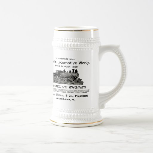 La locomotora de Baldwin funciona la cerveza 1895  Tazas De Café