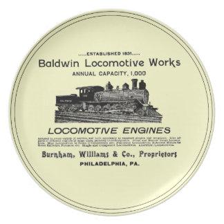 La locomotora de Baldwin funciona las placas 1895  Plato De Comida