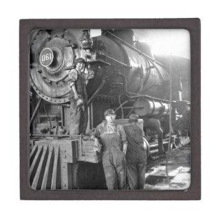 La locomotora del vintage de los galones de la caja de regalo de calidad