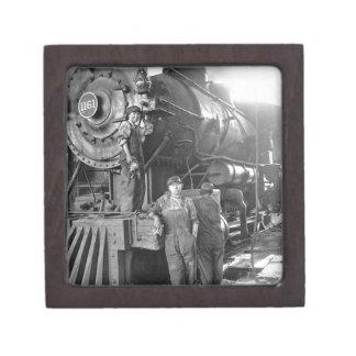 La locomotora del vintage de los galones de la cajas de regalo de calidad