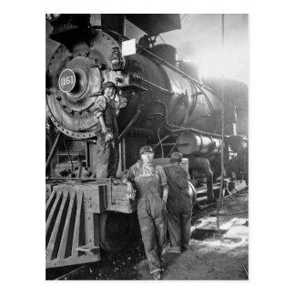 La locomotora del vintage de los galones de la postal