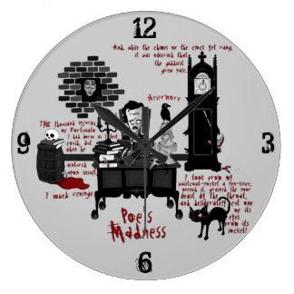 """La """"locura del Poe"""" (reloj de la versión 2) Reloj Redondo Grande"""