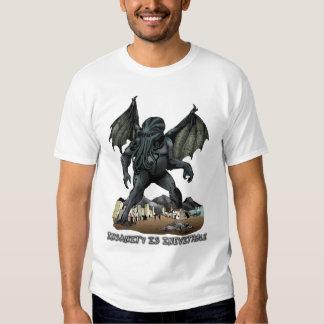 La locura es camiseta inevitable de Cthulhu (la Playera