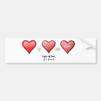 La lógica del amor uno más uno se convierte en uno pegatina para auto