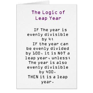 La lógica del año bisiesto tarjeta de felicitación