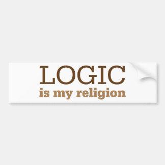 La lógica es mi religión pegatina para auto