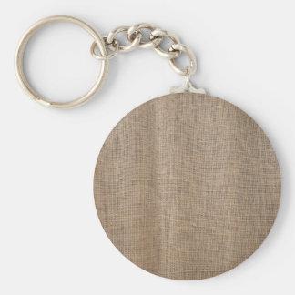 La lona de la textura de la arpillera llavero redondo tipo pin