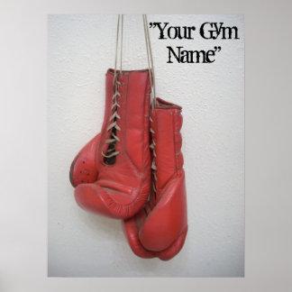 ¡La lona de los guantes de boxeo, añade su nombre  Póster