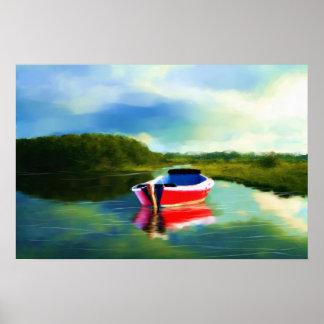 La lona superior estándar del pequeño barco rojo póster
