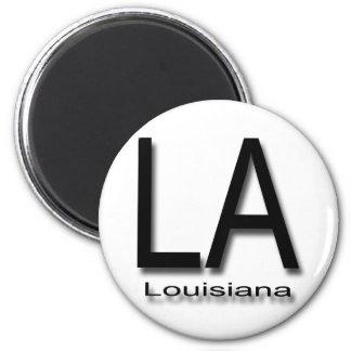 LA Louisiana  black 2 Inch Round Magnet